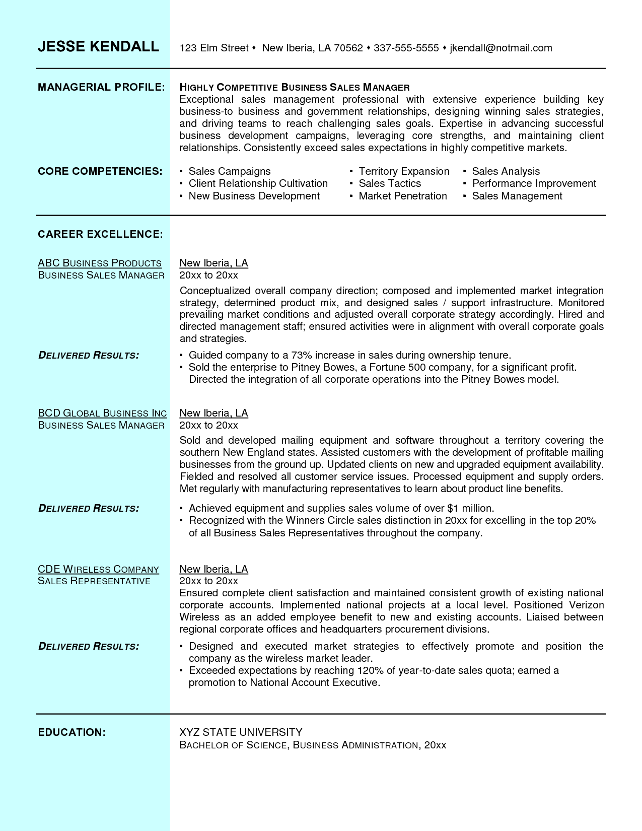 Executive Resume Template Resume Sales Manager Best Sample Ideas Pinterest Examples Outside