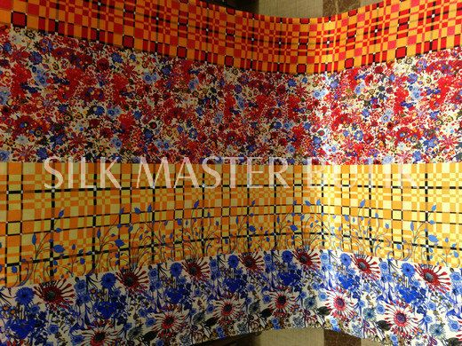 amazing screen print silk satin 85g/meter by silkmastersilkshop