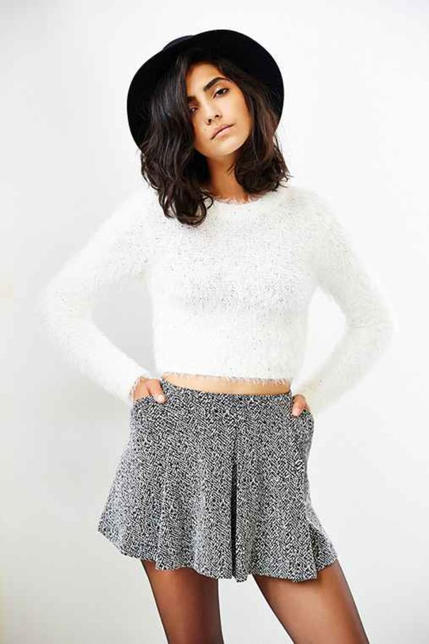 d27af0459c MINKPINK Freckles Fuzzy Cropped Sweater- White
