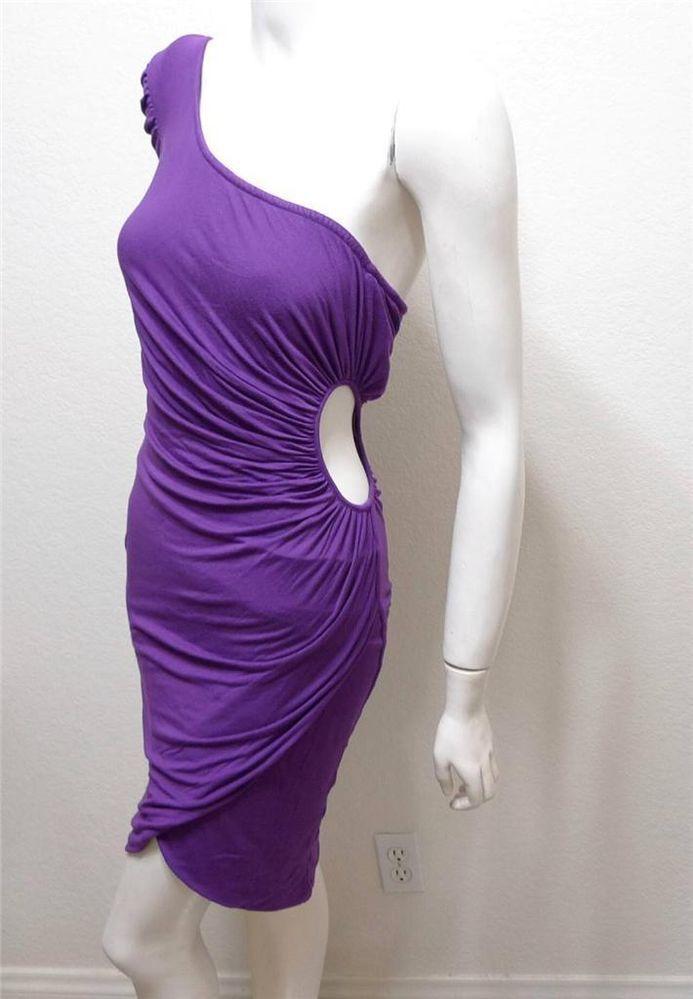 WOMEN KARDASHIANS BEBE cutout one shoulder ruched side dress S ...