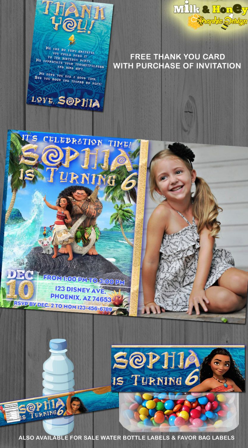 Moana Personalized Photo Invitation Birthday Card Invite Custom