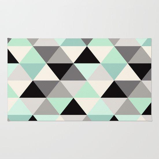 Black And White Geometric Mint Gray Rug Home Decor