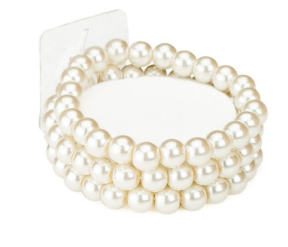Pearl Bead Corsage Wristlet in Ivory with Ribbon