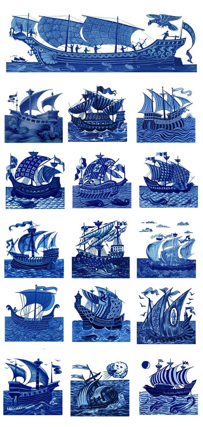 16 William De Morgan ships. 4.25 inch tiles. WilliamMorrisTile.com