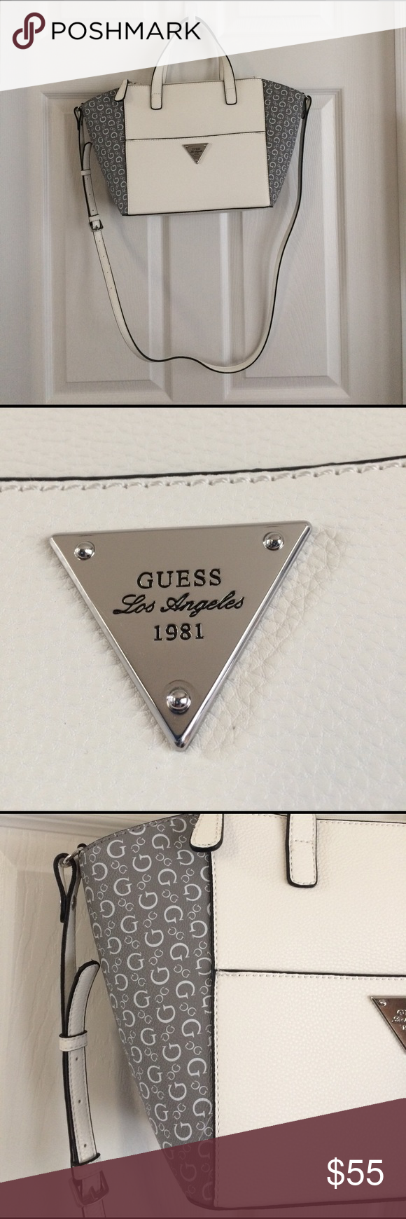 Guess bag New with tags. Guess bag NWT. White and silver in color. 7 pockets and 3 of them with zipper. 2 short handles and one long one that can be removed when wanted. Got as a gift for Christmas and was never used. Guess Bags Shoulder Bags