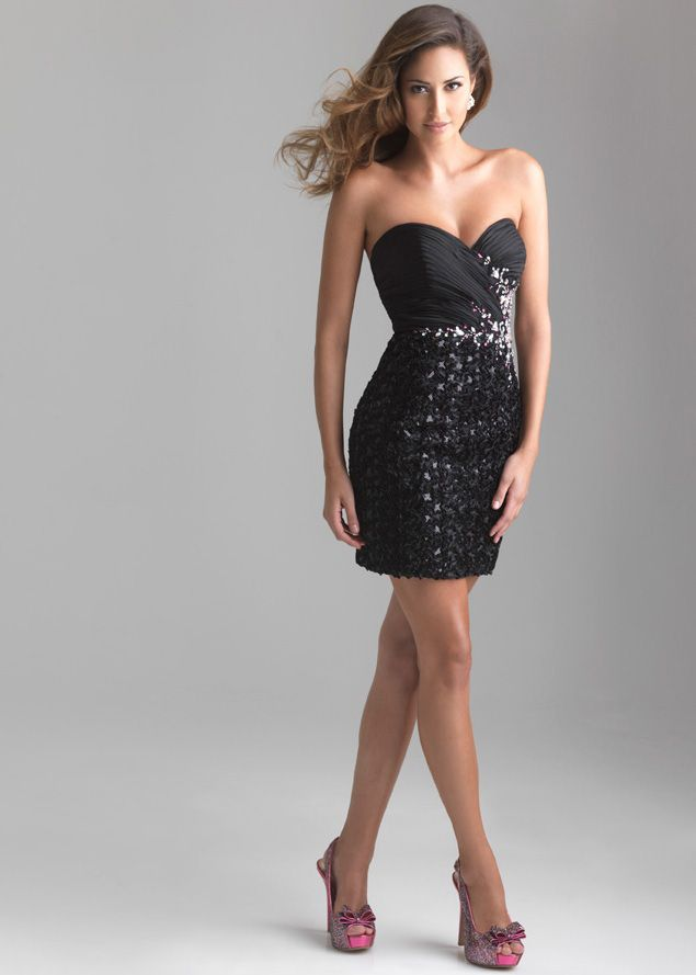 New 2013 Night Moves by Allure 6645 black strapless homecoming dresses available now at RissyRoos.com.