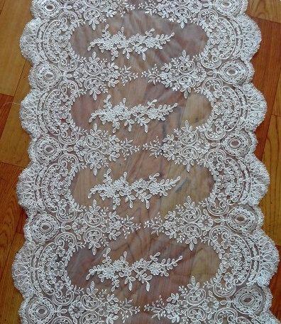 Fabelhafte Alencon Lace Trim Luxus Elfenbein Hochzeit Spitzen Retro Tüll Spitze bestickt 21,6 cm breit 1 Yard