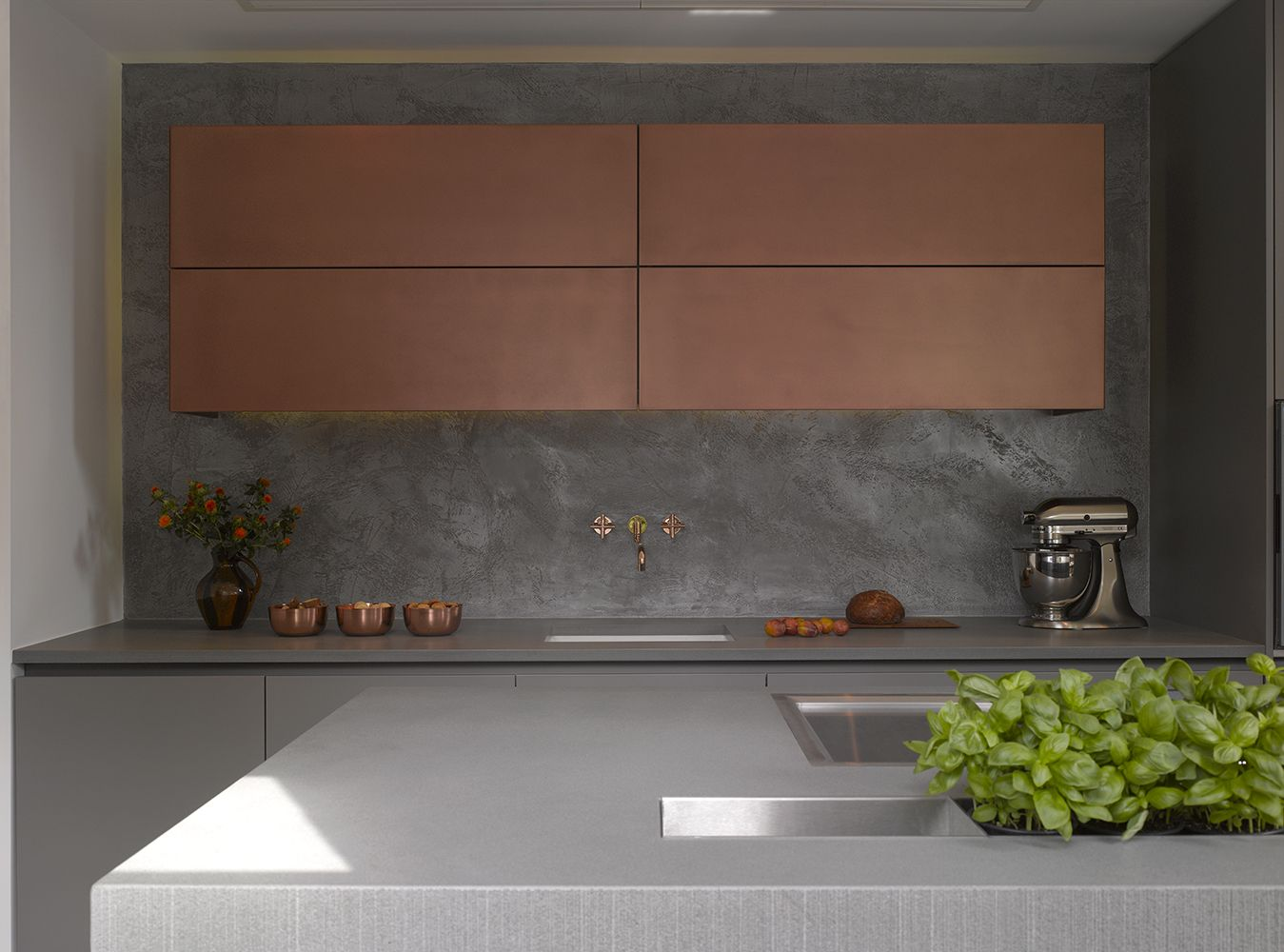 best 25 kitchen showroom ideas on pinterest luxury kitchen roundhouse urbo luxury bespoke kitchen with wall cabinets in burnished copper metallic matt lacquer worksurface