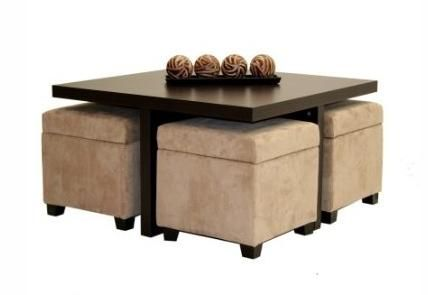 Beautiful wood coffee table with nested storage ottomans for Coffee table with nested ottomans