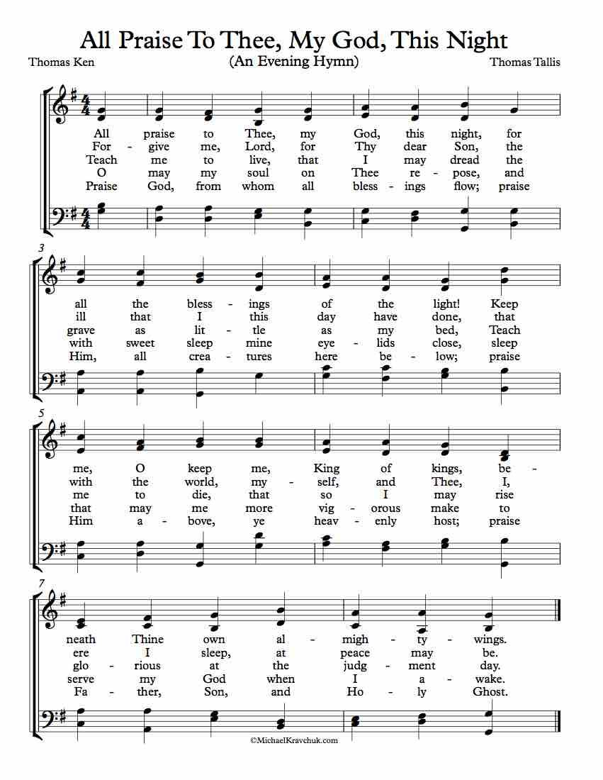 Free Choir Sheet Music All Praise To Thee My God This Night