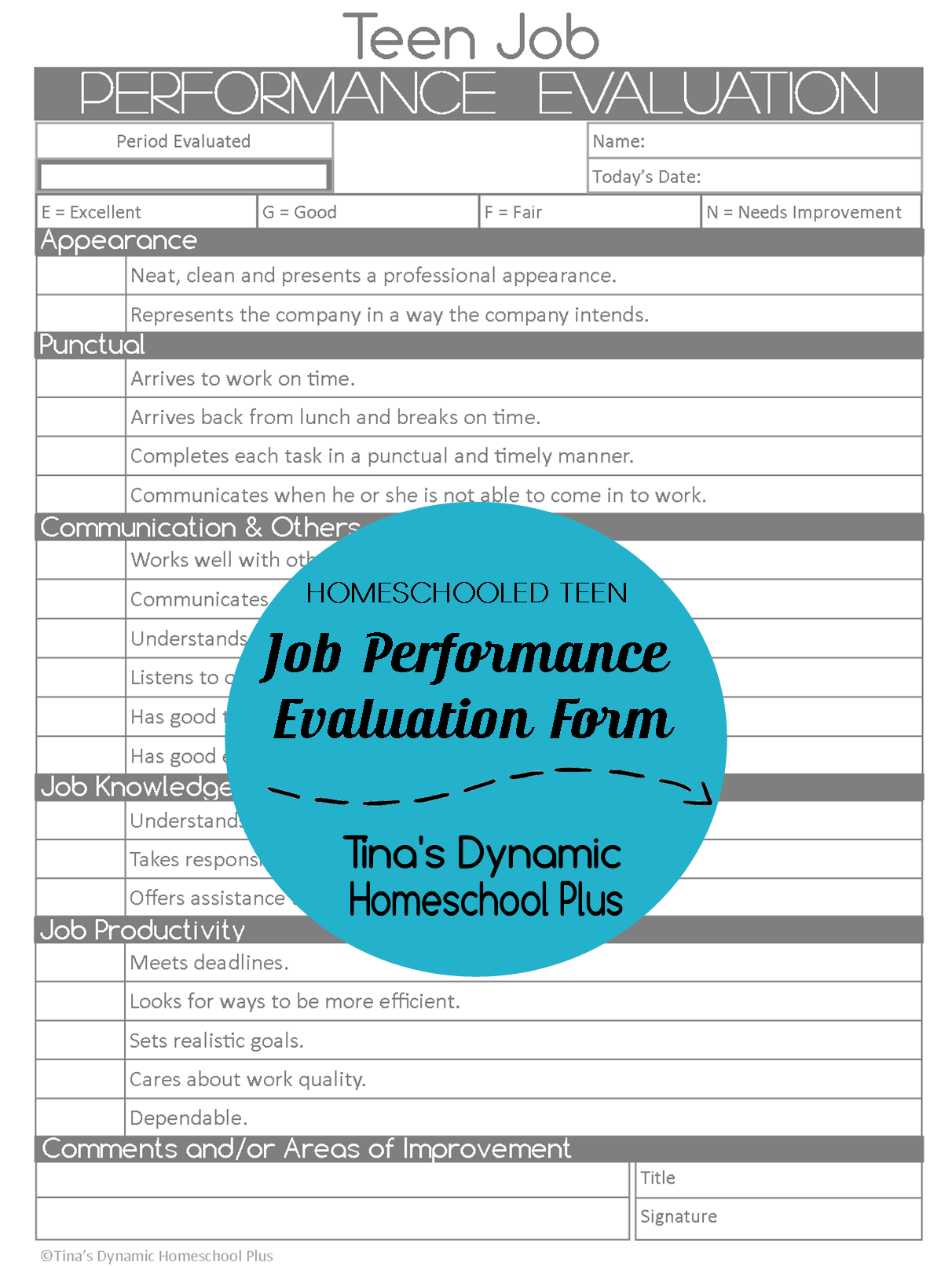 Homeschooled Teen Job Performance Evaluation Form  Homeschool