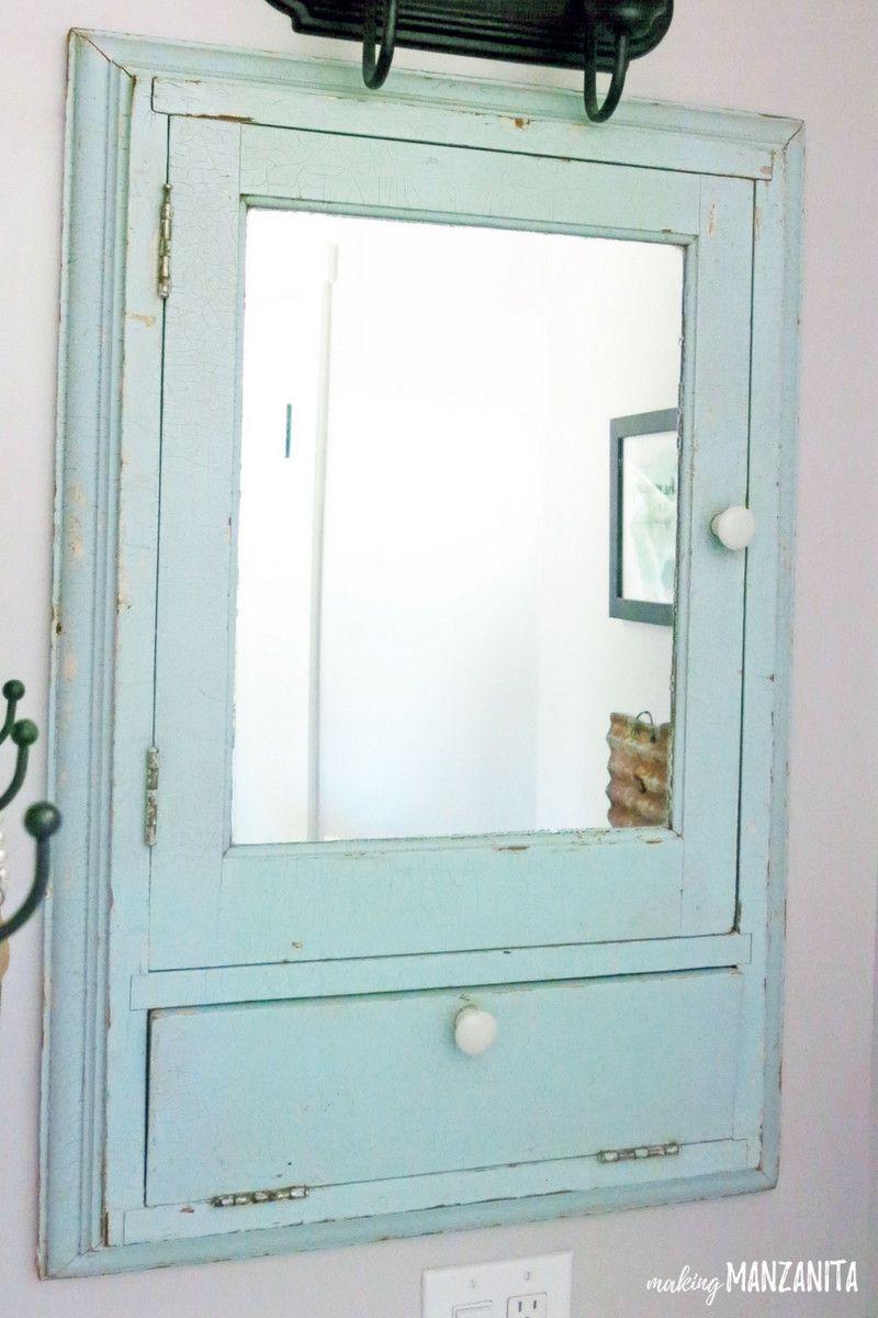 Vintage bathroom interior  vintage bathroom cabinet with mirror  modern interior paint