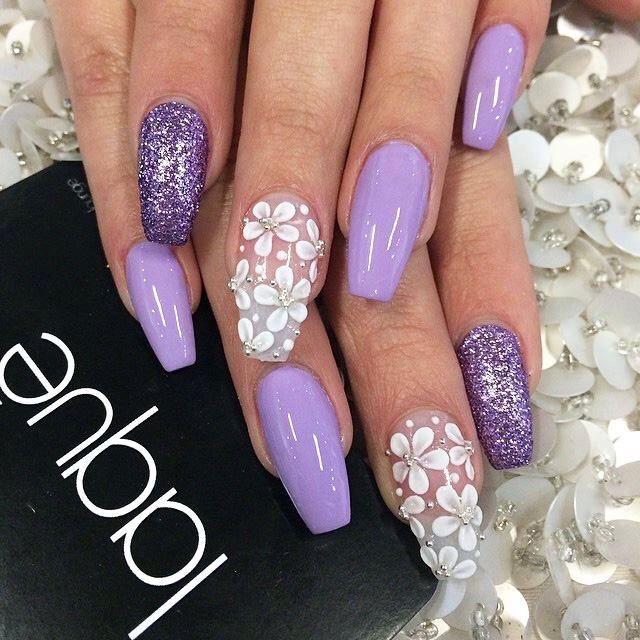 Lilac Glitter And 3D Flowers
