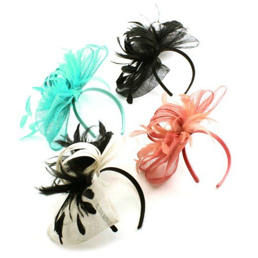 Amazon.com  Handmade Feathers Ribbon Bow Headband Fascinator Millinery  Cocktail Hat White  Clothing b2d23ca6628