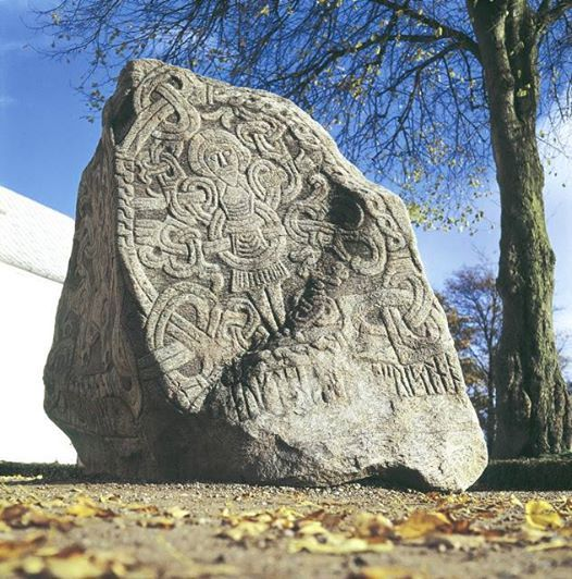 Runestone in Jelling, Denmark This one is thought to be the oldest extant depiction of Christ in Scandinavia.