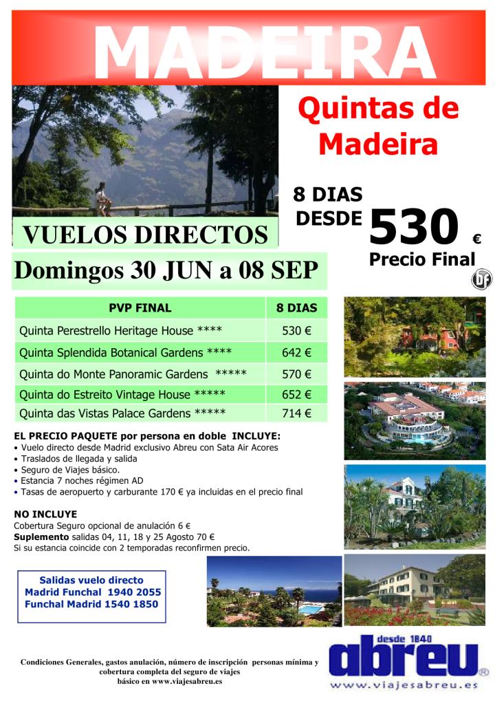 Madeira vuelo DIRECTO desde Madrid especial Quintas de Madeira Domingos 30 Jun a 08 Sep - http://zocotours.com/madeira-vuelo-directo-desde-madrid-especial-quintas-de-madeira-domingos-30-jun-a-08-sep-3/