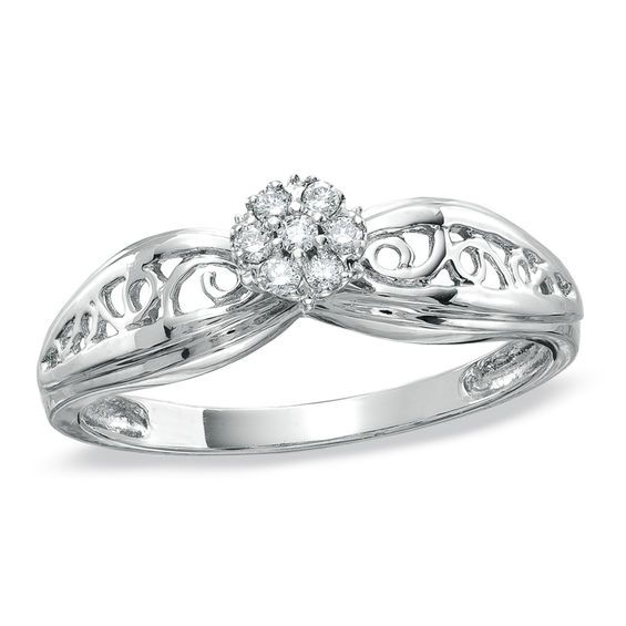 Diamond Accent Cluster Promise Ring In 10k White Gold In