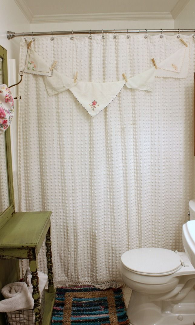 Shower Curtain Made From A Bedspread Shabby Chic Shower Curtain