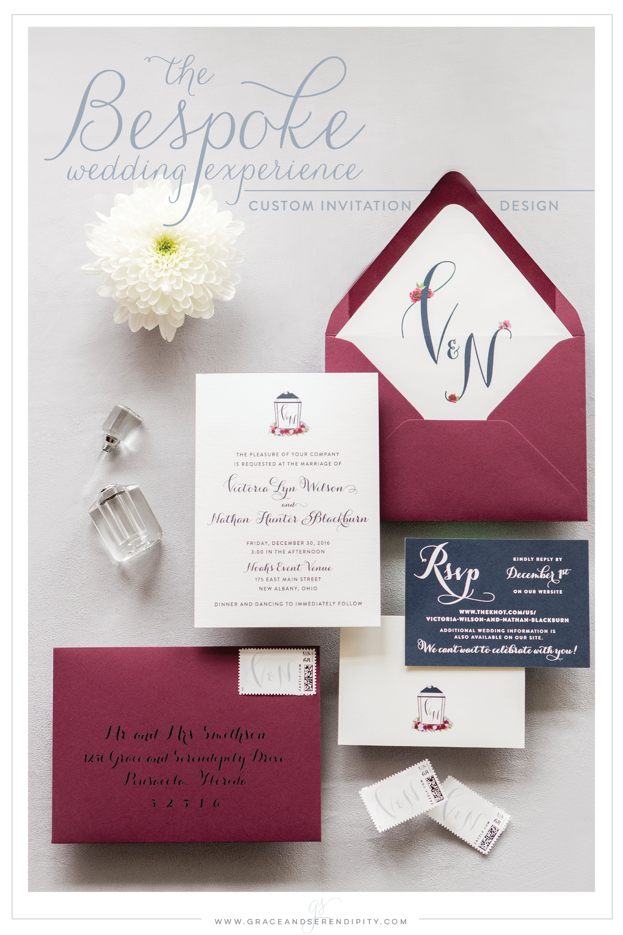 Burgundy and Navy Wedding Invitations custom invitation design by