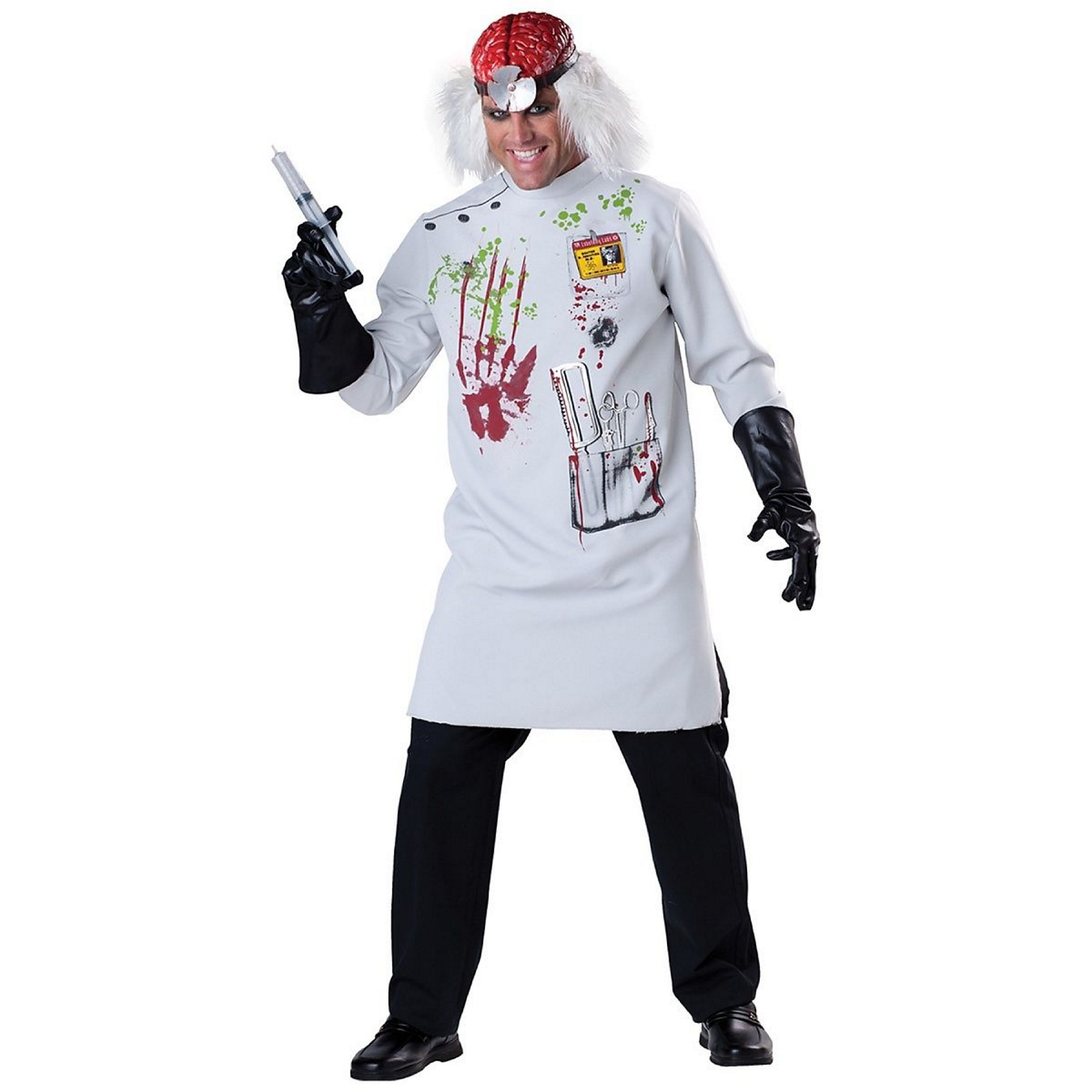 Mens Halloween Blood Stained White Doctors Coat Costume Lab Scientist Size M