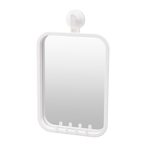 Ikea Stugvik Mirror With Hooks And Suction Cup The Grips Smooth Surfaces You Can Hang Your Towels Or A Sponge On Thanks To