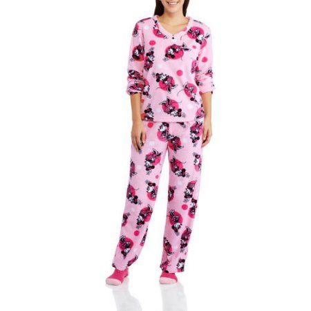 Disney Minnie Women's and Women's Plus 3 Piece PJ Set, Pink