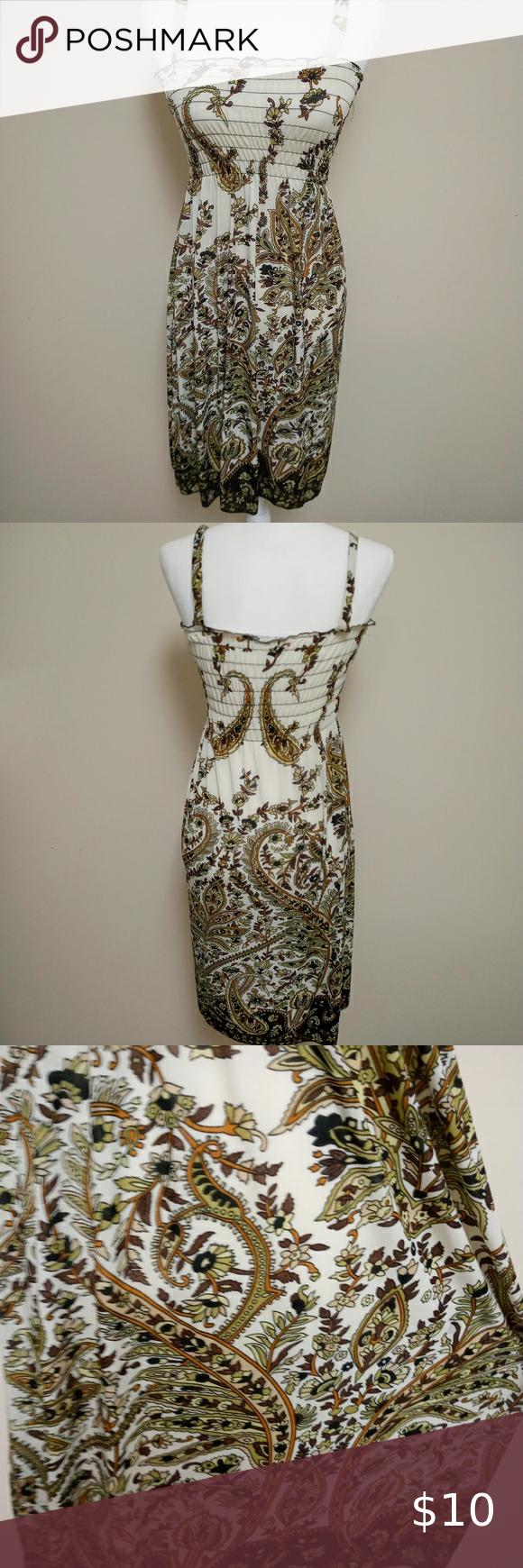 Silk Blend Stretchy Summer Dress Brown Cream Green In 2020 Summer Dresses Dresses Silk [ 1740 x 580 Pixel ]