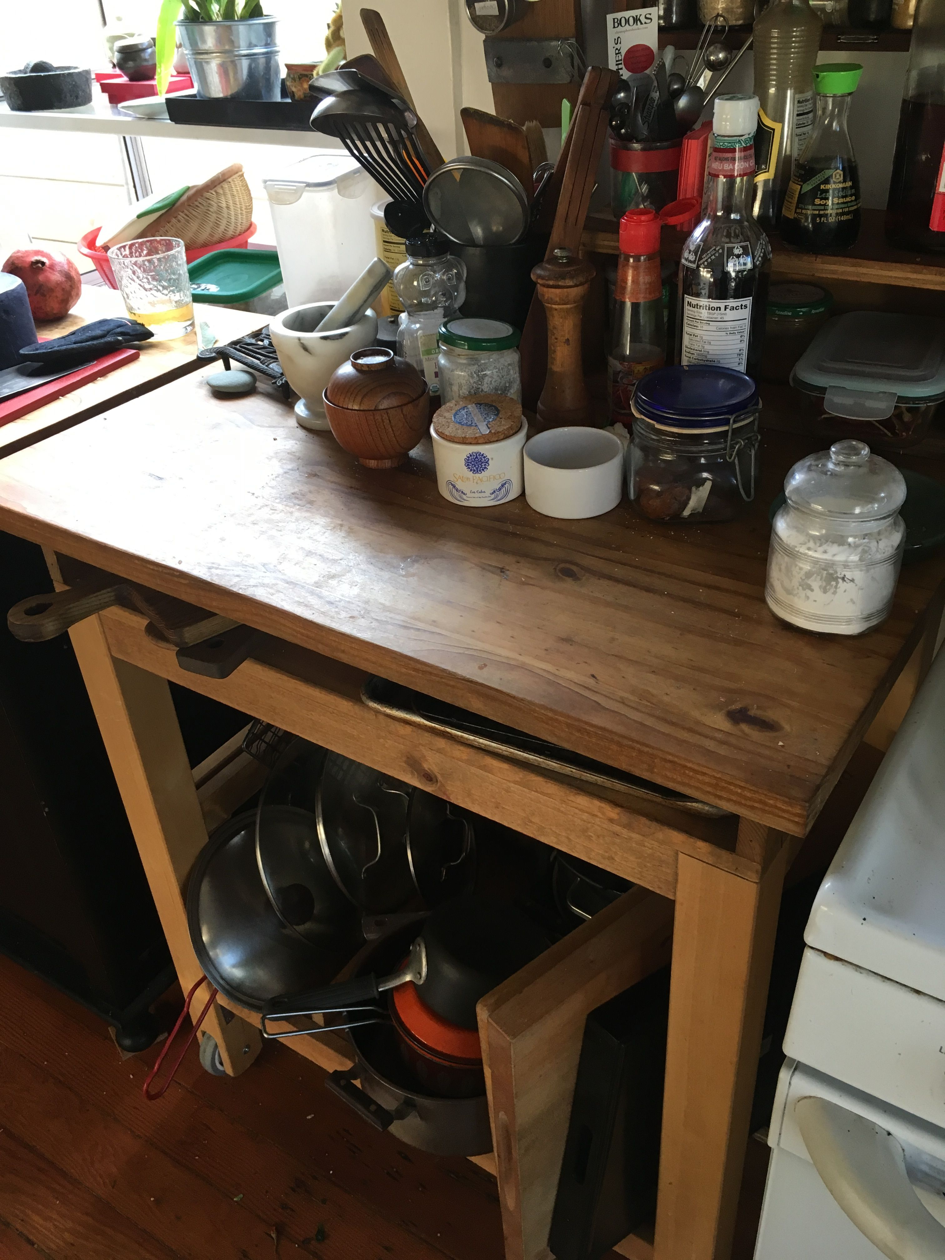 Kitchen Work Table With Storage Space Underneath Kitchen Work