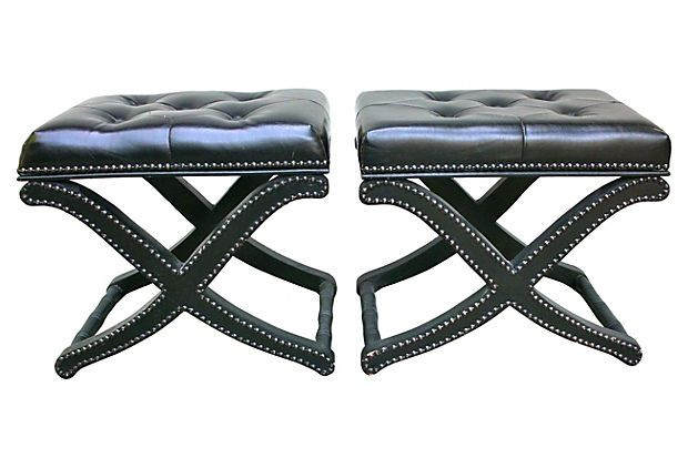 Black Leather Footstools, Pair on OneKingsLane.com