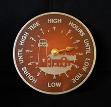 Handmade pewter design on copper tide clock