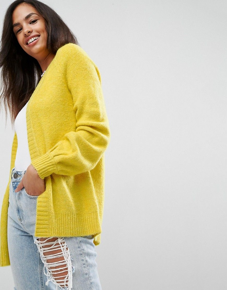 ASOS Chunky Cardigan with Volume Sleeves - Yellow | Products ...
