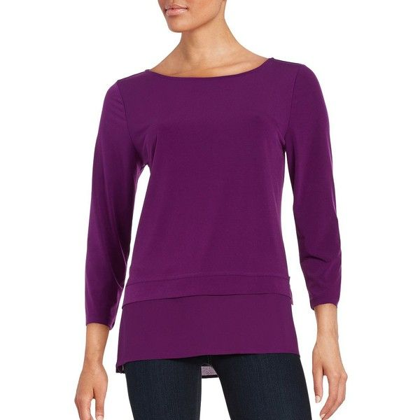 Ivanka Trump Knit Mock-Layer Blouse ($59) ❤ liked on Polyvore featuring tops, blouses, boysenberry, layered blouse, 3/4 sleeve blouse, purple top, 3/4 length sleeve tops and double layer blouse