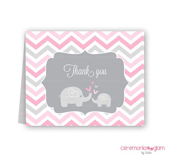 Baby shower thank you cards chevron elephant pink by ceremoniaGlam - baby shower thank you notes