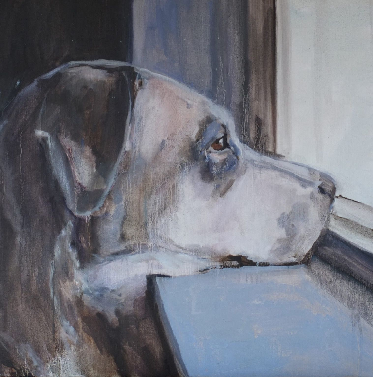 """Mieke Jonker; Oil 2015 Painting """"Because of the dog III"""""""