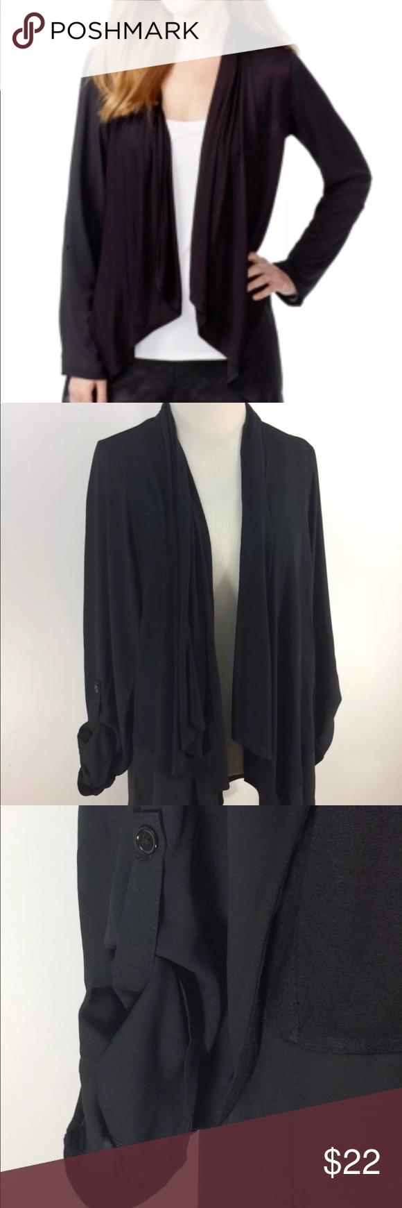 Inc Tab-Sleeve Knit Cardigan Black Size XL Inc International