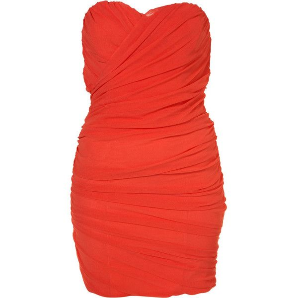 Mesh Tube Dress By Rare** (130 CAD) ❤ liked on Polyvore featuring dresses, vestidos, robe, sukienki, women, red mesh dress, red flounce dress, red open back dress, frilly dresses and red tube dress