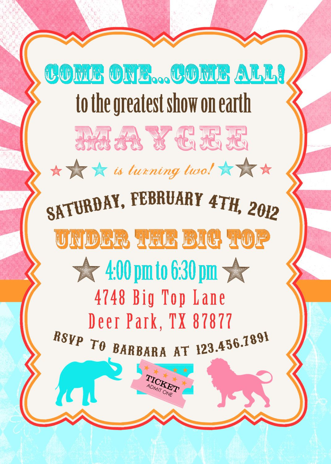 Cute • Circus • Invite | Carnival and Circus Birthday Invitations ...