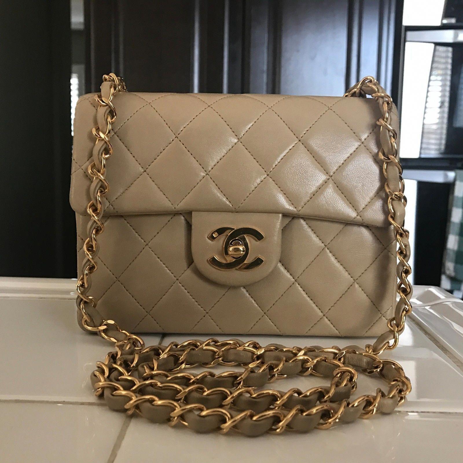 a32ac93c1400 100% Auth Chanel Vintage Mini Flap Crossbody Lambskin Beige Gold Hw Bag  #Chanelhandbags