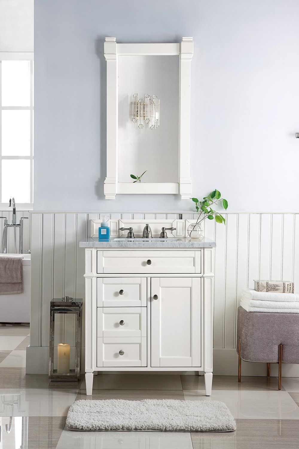 30 Brittany Cottage White Single Sink Bathroom Vanity With