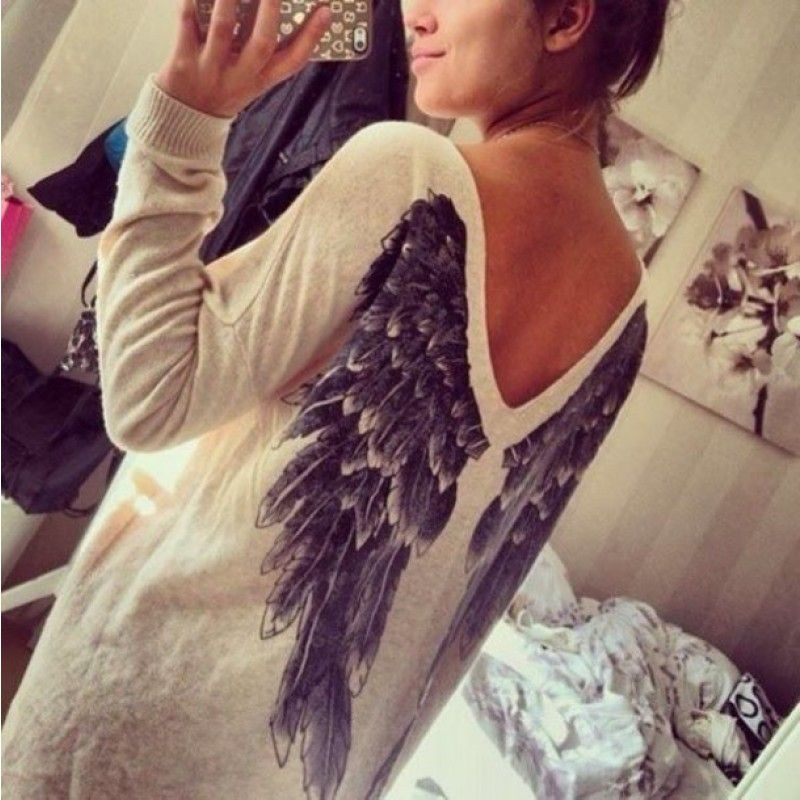 White V-neck Angel Wings Printing Hollow Out Backless Top Casual T-shirt