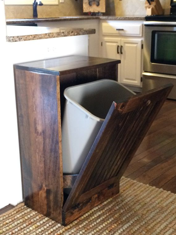 Rustic tilt out trash bin can reclaimed pallet wood by for Diy dustbin ideas