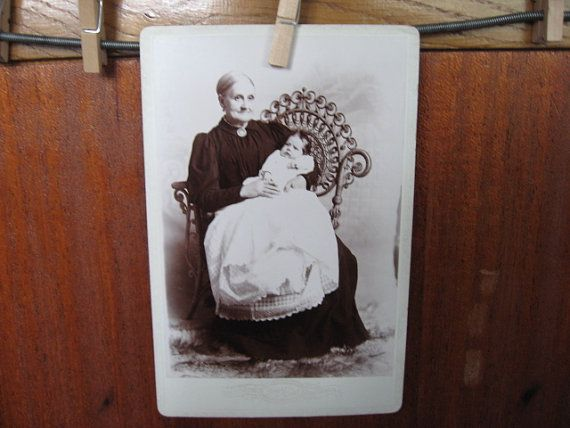 "One Vintage Cabinet Card ""Grandma and Baby Bessie"" Home Decor Scrapbooking Supplies Old Photos"