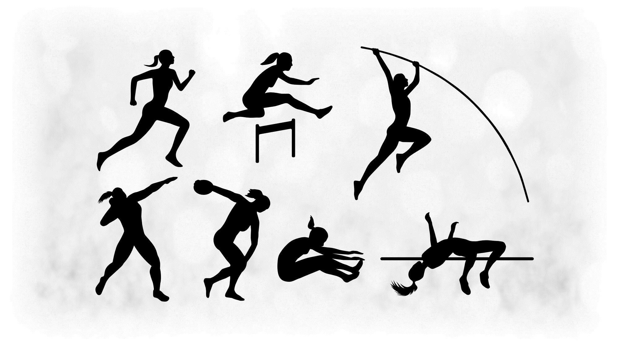 Sports Clipart Value Pack Black White Female Track Etsy In 2021 Clip Art Track And Field Black And White