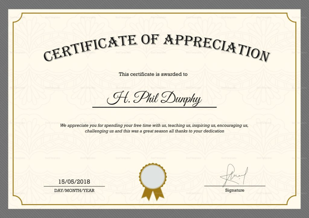 certificate appreciation sample template templates word within recognition certificates professional printable vancecountyfair psd layout