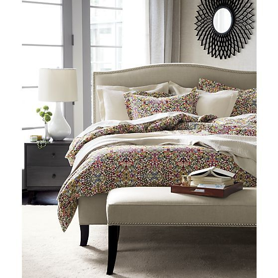 lucia full/queen duvet cover - crate and barrel | crates, bed