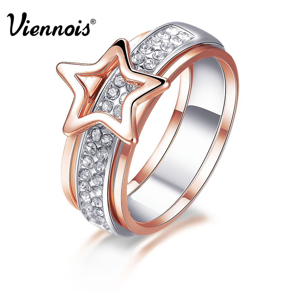 New Rose Gold Silver Color Star Rings for Women Full Rhinestone