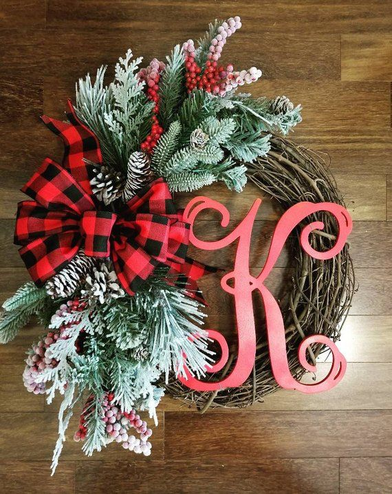 Christmas wreaths, Farmhouse Christmas wreath with initial, Christmas gift, holiday decor, holiday w -   24 farmhouse style christmas