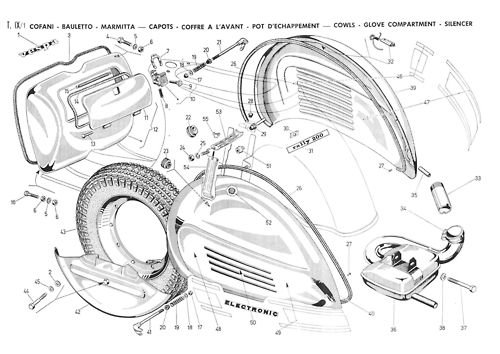 Explosion diagram from the 1974 Rally 200 'catalogo parti