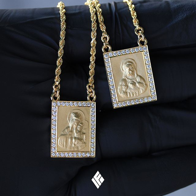 Solid 14k Yellow Gold Micro Escapulario Pieces Borders Iced With Vs White Diamonds Custom Made To Order For B Gold Chain Choker Diamond White Custom Jewelry