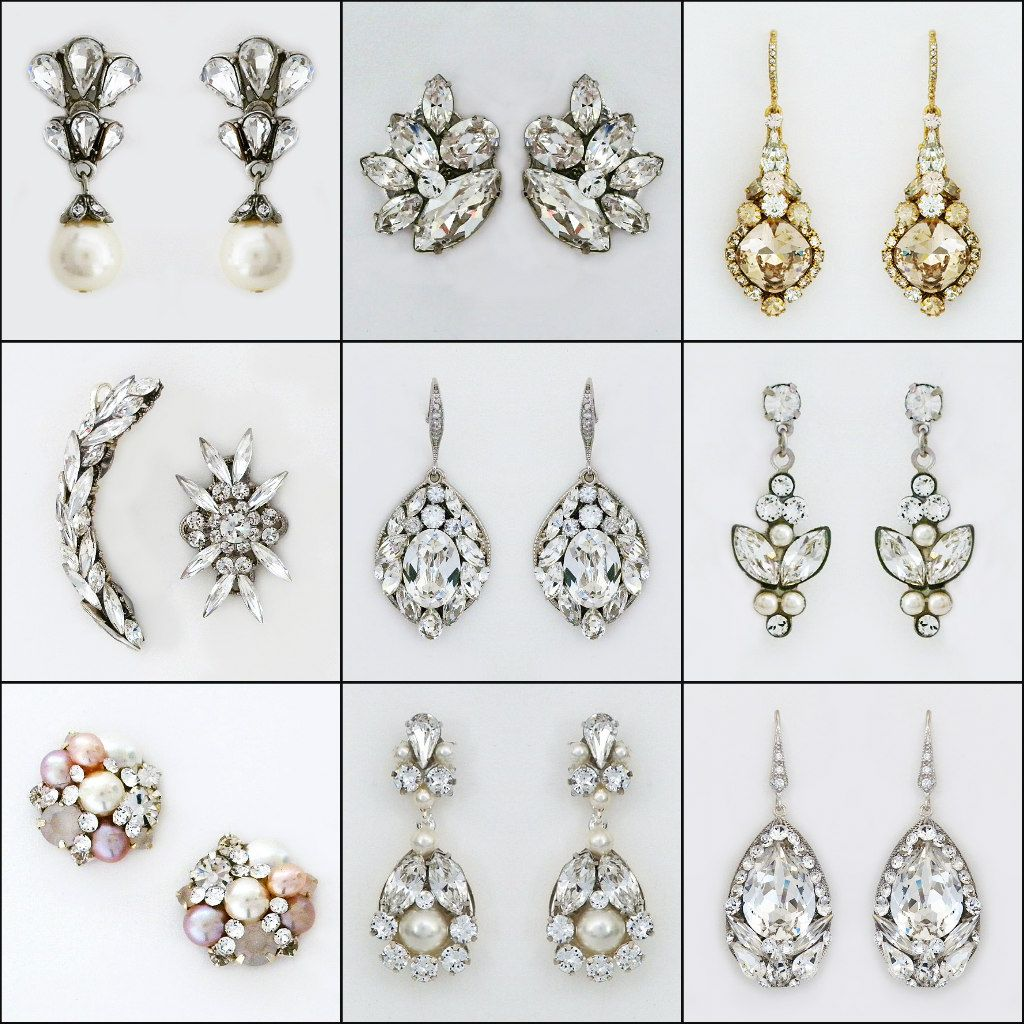 Bridal earrings. Drops, studs, vintage, modern or rock star glam.  Sparkle that is all about your wedding day style.  What style looks best on you?  Learn about earrings for your face shape & more earring tips on our blog:  https://perfectdetails.com/blog/bridal-earrings-more-tips-advise-from-rachel-howard/